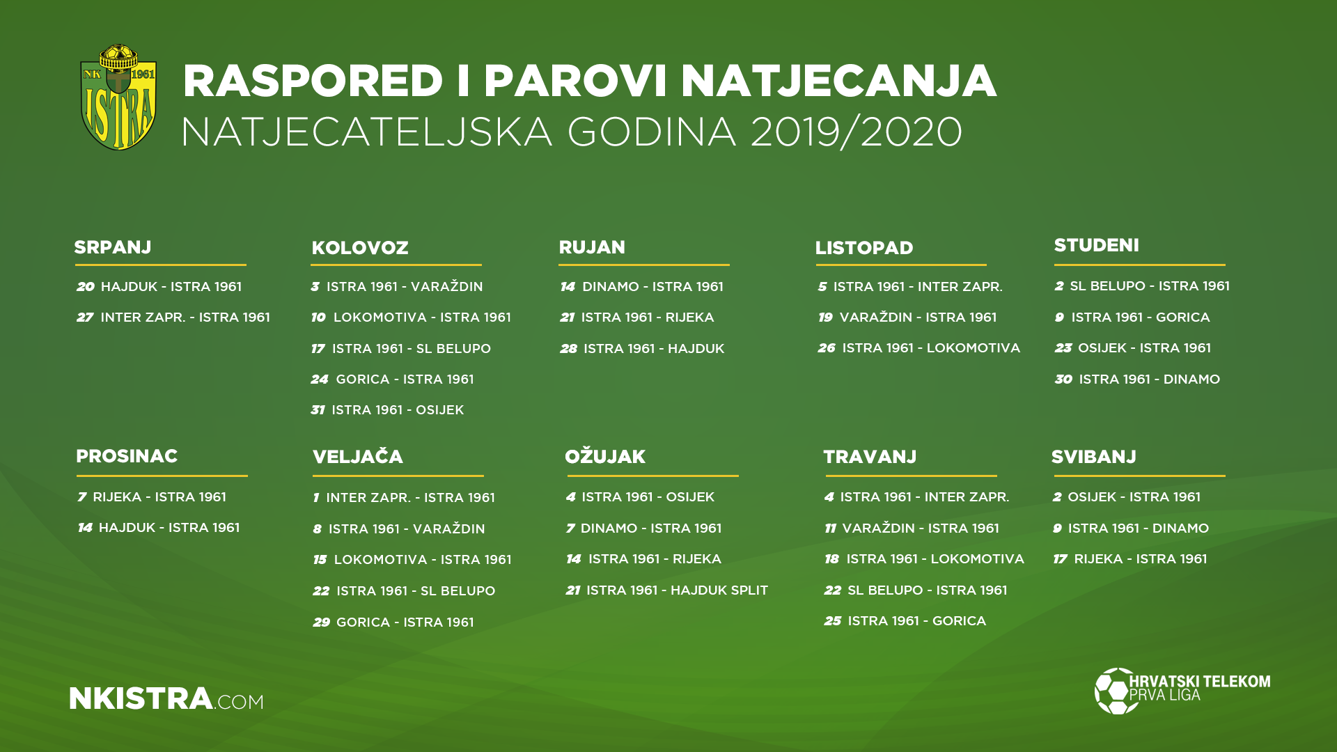 Interit Calendario.Schedule For 2019 2020 Nk Istra